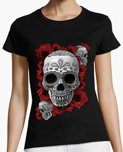 Tee-shirt Tête de mort mexicaine n roses !!!