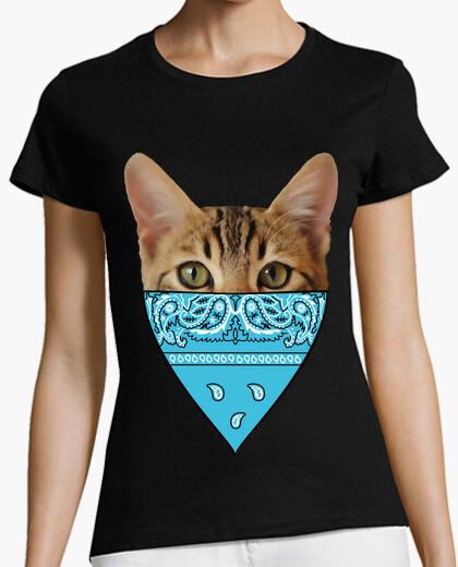 Tee-shirt tête visage chat b and ana bleu