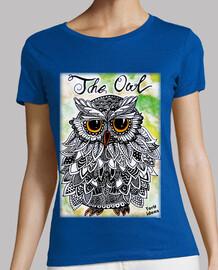 the owl - woman, short sleeve, green, premium quality