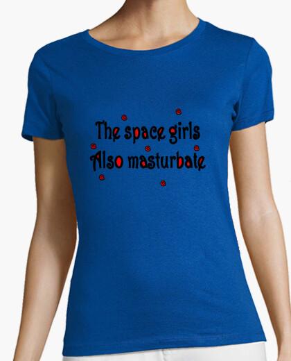 Camiseta The space girls also masturbate. Mujer, manga corta, verde, calidad premium