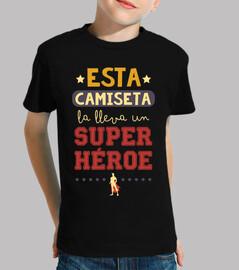 this t-shirt bears a superhero