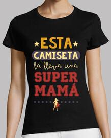 this t-shirt bears a supermom