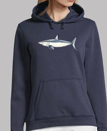 Tiburón Mako - Mujer, jersey con capucha, azul marino