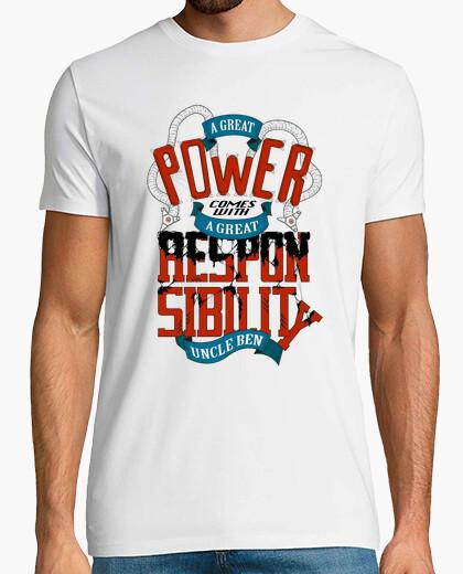 Camiseta tiene un gran poder conlleva una gran respons camisa con un hombre