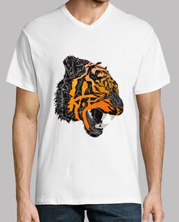 tiger ruggito t-shirt scollo a v