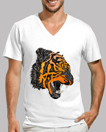 tiger ruggito t-shirt scollo a v