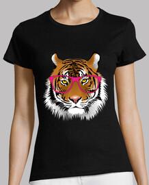 Tigre con gafas rosa