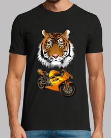tigre con moto amarilla