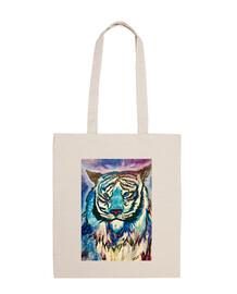 tigre cosmico Bolsa tela 100x100 algodón