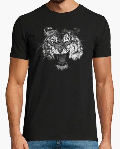 Camiseta Tigre Rugido blanco y negro