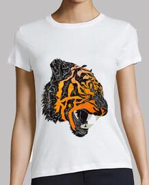 tigre rugido camiseta mujer
