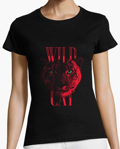 Tigresa Rojo - Gato salvaje  Wild cat  Camiseta de tigre
