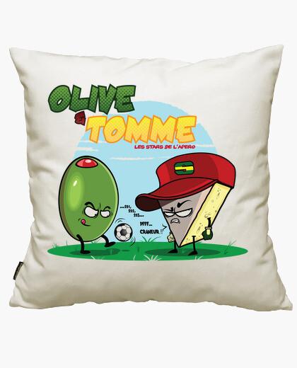 Tomme olive et les stars of lapéro cushion cover