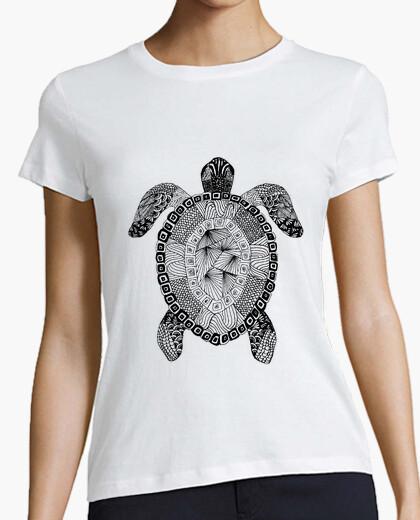 Camiseta tortuga Zentangle Mujer, manga corta, blanca, calidad premium