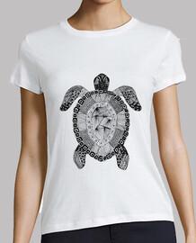 tortuga Zentangle Mujer, manga corta, blanca, calidad premium