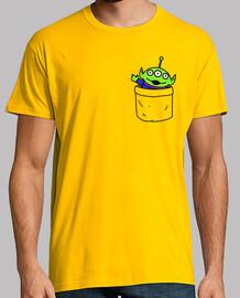 toy alien in a pocket t-shirt guy