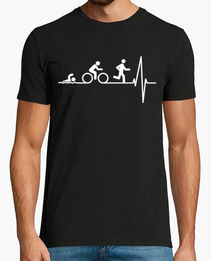Tee-shirt triatlon dans le coeur (fond sombre)