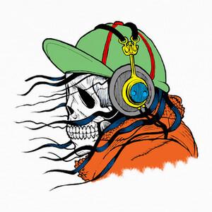 Tee-shirts Tribal Skull With Headphones