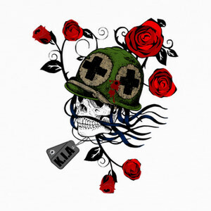 Tee-shirts Tribal Skull With Helmet And Roses