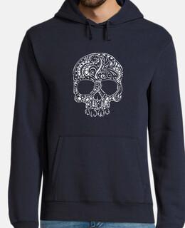 tribal tattoo style gothic skull mens hoodie