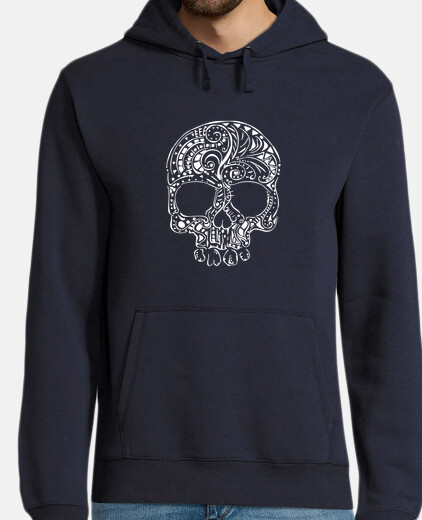 tribal tattoo style gothic skull mens hoodie
