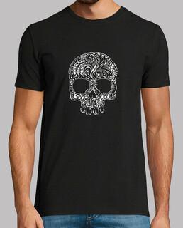 tribal tattoo style gothic skull mens t-shirt