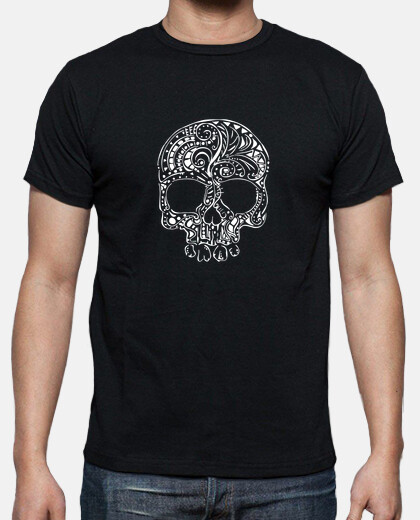 tribal tattoo style gothic skull mens t-shirt