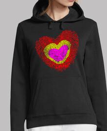 tricolor d'empreinte digitale de coeur