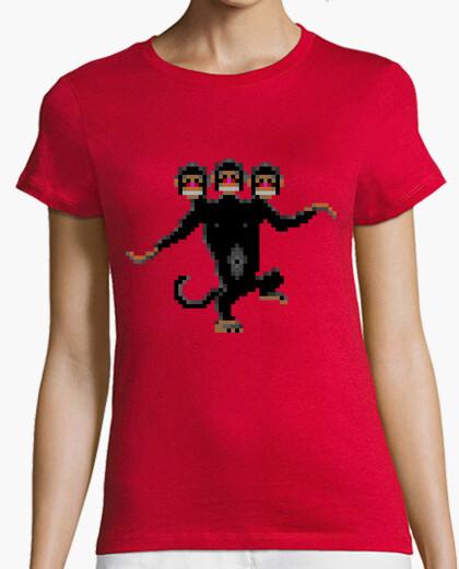 Tee-shirt trois têtes de singe (femelle)