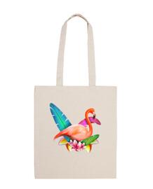 tropical flamingos - 100% cotton fabric bag