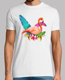 Tropical Flamingos - Hombre, manga corta, blanco, calidad extra