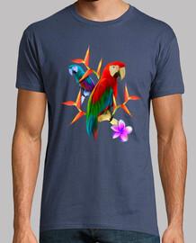 tropical summer - blue and red arara - man, short sleeve, denim, extra quality