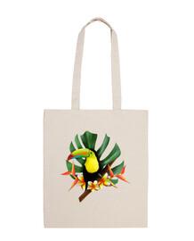 tropical toucan pocket - 100% cotton fabric bag