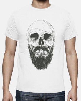 t-shirt hipster teschio barba