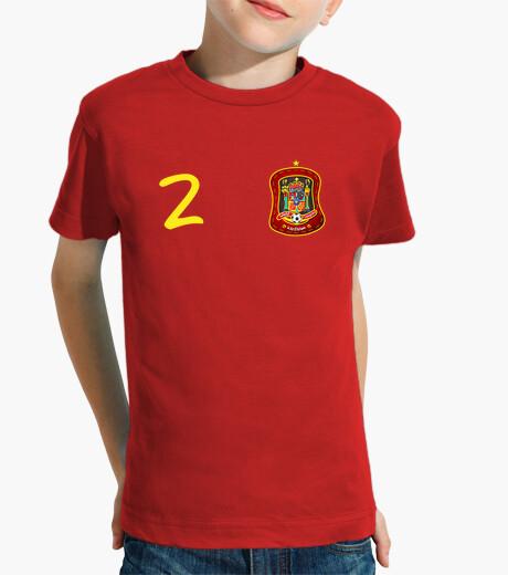 Ropa infantil Tu camiseta de España con el número 2 y tu nombre en la espalda.