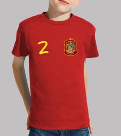 Tu camiseta de España con el número 2 y tu nombre en la espalda.