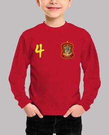 Tu camiseta de España con el número 4 y tu nombre en la espalda.
