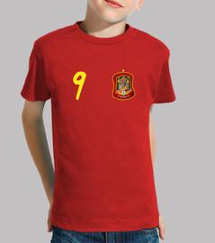 Tu camiseta de España con el número 9 y tu nombre en la espalda.