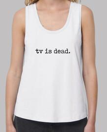 tv is dead - Mujer, tirantes anchos & Loose Fit, blanca