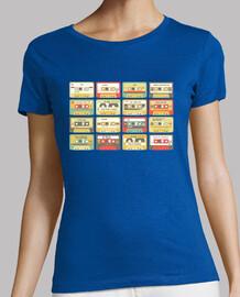 U2 cassettes. Mujer, manga corta, azul cielo, calidad premium