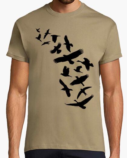 T-shirt uccelli che volano - nero