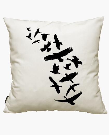 Fodera cuscino uccelli che volano - nero
