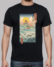 ukiyo e by the sea shirt homme