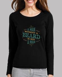 un hombre sin barba no es una camisa de manga larga mujer hombre
