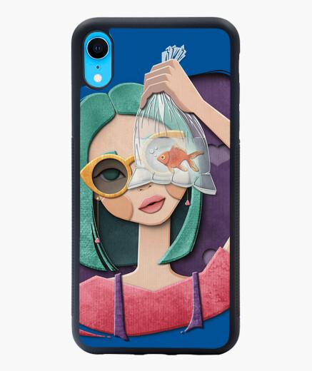 Funda iPhone XR Una chica, un pez y corazones