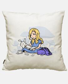 una ragazza, un gatto e un rabbit