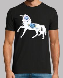 Unicornio con flores / Rosa azul