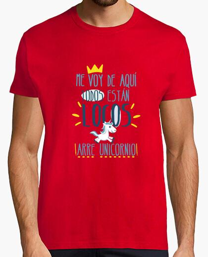 Camiseta Unicornio, Hombre, manga corta, rojo, calidad extra