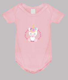 Unicornio rosa body bebé niña
