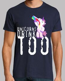 Unicorns drink too. Hombre, manga corta, azul marino, calidad extra